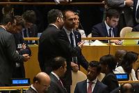 Nova York (EUA), 24/09/2019 - Assembléia Geral / ONU - Ernesto Araujo e Eduardo Bolsonaro durante abertura da 74ª Assembleia Geral da Organização das Nações Unidas (ONU)  em Nova York nos Estados Unidos nesta terça-feira, 24. (Foto: William Volcov/Brazil Photo Press/Agencia O Globo) Mundo