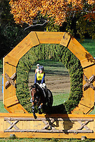 Cecelia, with rider Leslie Chelstrom (USA), competes during the Cross Country test during the Fair Hill International at Fair Hill Natural Resources Area in Fair Hill, Maryland on October 20, 2012.