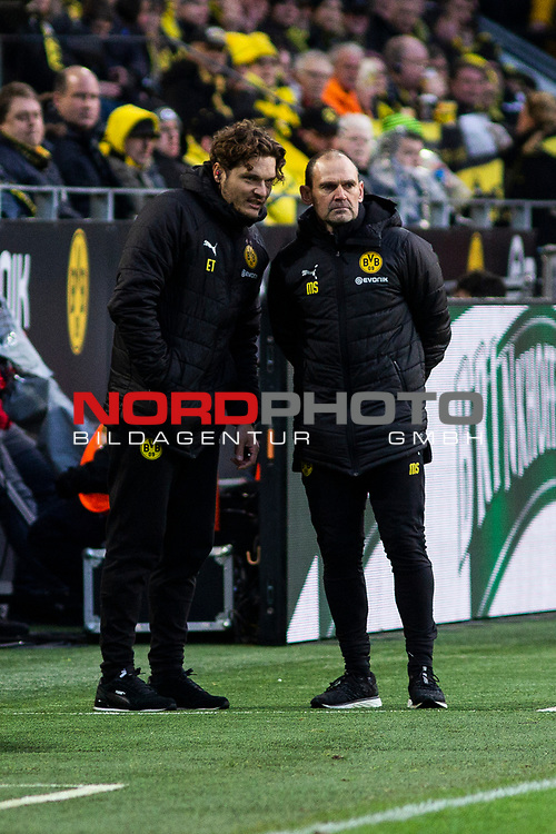 09.02.2019, Signal Iduna Park, Dortmund, GER, 1.FBL, Borussia Dortmund vs TSG 1899 Hoffenheim, DFL REGULATIONS PROHIBIT ANY USE OF PHOTOGRAPHS AS IMAGE SEQUENCES AND/OR QUASI-VIDEO<br /> <br /> im Bild | picture shows:<br /> Standen für den erkrankten Cheftrainer Lucien Favre an der Seitenlinie: Edin Terzic und Manfred Stefes,  <br /> <br /> Foto © nordphoto / Rauch