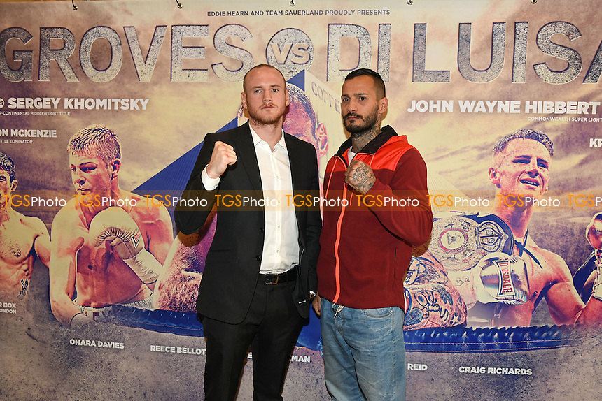 George Groves (L) and Andrea Di Luisa during a Press Conference ahead of the Matchroom Boxing show to be staged on 30th January 2016 at the Copper Box