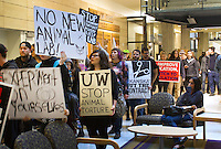 Activists from a group called No New Animal Lab march through the Hucky Union Building (HUB) during a protest against the building of a new animal underground animal research facility on the University of Washington campus on October 2, 2015. (photo karen Ducey photography).
