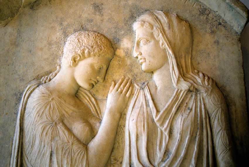 Grave relief of Krito and Timarista, Archaeological Museum, Old Town, Rhodes Town, Rhodes, Dodecanese, Greece