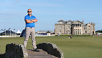Photographer David Lloyd on the 18th bridge during the practice days before the 2014 Alfred Dunhill Links Championship, The Old Course, St Andrews, Fife, Scotland. Picture:  Ken Dennis/David Lloyd / www.golffile.ie