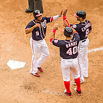 29 May 2016: Washington Nationals outfielder Ben Revere is greeted at home plate after scoring against the St. Louis Cardinals at Nationals Park in Washington, DC. The Nationals defeated the Cardinals 10-2 to split their 4-game series. Mandatory Credit: Ed Wolfstein Photo *** RAW (NEF) Image File Available ***
