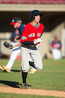 Utah Jones (7) of Watauga High School in Boone, North Carolina playing for the Boston Red Sox scout team at the South Atlantic Border Battle at Doak Field on November 2, 2014.  (Brian Westerholt/Four Seam Images)