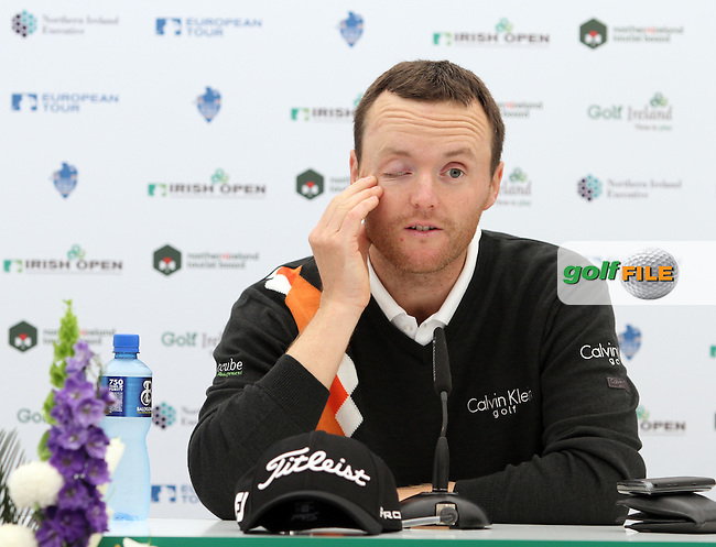 Michael Hoey (NIR) in the Interview Room on the Tuesday Practice Day at the 2012 Irish Open at Royal Portrush Golf Club...(Photo Jenny Matthews/www.golffile.ie)