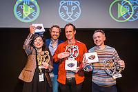 Rotterdam, 25-01-2015, International Film Festival Rotterdam, IFFR. Ceremony Canon Tiger Awards for Short Films in Lantarenvenster. Op zondag 25 januari zijn THINGS van Ben Rivers (R), LA FI&Egrave;VRE van Safia Benhaim (L) en GREETINGS TO THE ANCESTORS van Ben Russell in LantarenVenster in Rotterdam bekroond met drie gelijkwaardige Canon Tiger Awards voor Korte Films.  De winnaars werden gekozen door de jury bestaande uit: Beatrice Gibson, Xander Karskens and Koyo Yamashita. Op deze foto de winnaars met Jeroen Barsingerhorn van Canon. Foto Nichon Glerum Copyright and ownership by photographer.<br /> For IFFR use only.<br /> NOT TO BE REDISTRIBUTED
