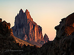 Sunrise at Shiprock, New Mexico ©2016 James D Peterson.  Framed by the remnants of a lava ridge, this volcanic mountain dominates the landscape in northwestern New Mexico.