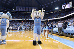 CHAPEL HILL, NC - DECEMBER 03: UNC mascot Rameses. The University of North Carolina Tar Heels hosted the Tulane University Green Wave on December 3, 2017 at Dean E. Smith Center in Chapel Hill, NC in a Division I men's college basketball game. UNC won the game 97-73.