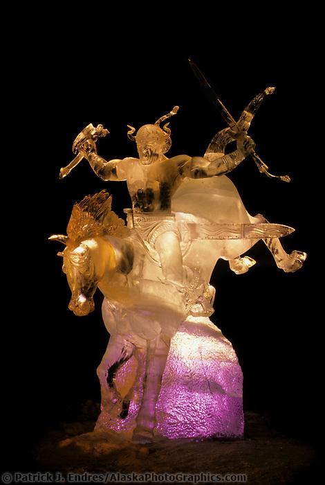 World Ice Art Championship, award winning Ice Sculpture by Steve Brice lit by colored lights, Fairbanks, Alaska