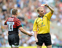 London, England. Wayne Barnes Referee sends off Chris Ashton of Saracens during the Aviva Premiership match between London Wasps  and Harlequins at Twickenham Stadium on September 1, 2012 in Twickenham, England.