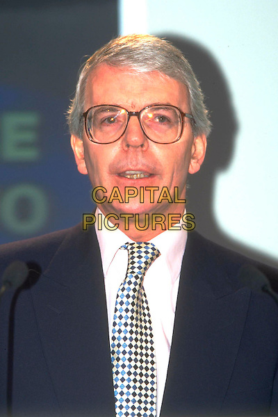 JOHN MAJOR.Ref: 4463.Pre 2001.headshot portrait black white tie glasses .CAP/JM.©James McCauley/Capital Pictures.