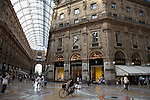 Shoppers and Tourists in the Vittorio Emanuele II Shopping Gallery, Milan in Italy