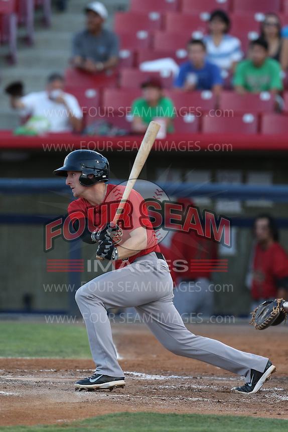 Ryan Gebhardt #2 of the Visalia Rawhide bats against the High Desert Mavericks at Heritage Field on July 19, 2014 in Adelanto, California. Visalia defeated High Desert, 10-9. (Larry Goren/Four Seam Images)