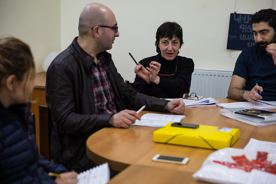 Russian language classes for Syrian-Armenian refugees at KASA Foundation, part of the the Vocational Educational Training (VET) program. Lisa Manukayn leads Russian language classes for Syrian-Armenian refugees, part of a joint UNHCR-KASA Vocational Educational Training (VET) project.