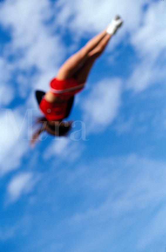 cheerleader flying in the sky