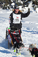 Ed Stielstra on Long Lake at the Re-Start of the 2012 Iditarod Sled Dog Race