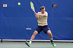 03 April 2015: Notre Dame's Eddy Covalschi. The Duke University Blue Devils hosted the University of Notre Dame Fighting Irish at Ambler Stadium in Durham, North Carolina in a 2014-15 NCAA Division I Men's Tennis match. Duke won the match 5-2.
