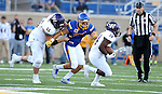 BROOKINGS, SD - SEPTEMBER 24:  Jesse Bobbit #7 from South Dakota State University tracks down running back Steve McShane #34 from Western Illinois in the first half of their game Saturday evening at Dana J. Dykhouse Stadium in Brookings. (Photo by Dave Eggen/Inertia)