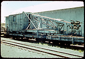 3/4 view of D&amp;RGW pile driver #OB and her boom car, possibly in Chama.<br /> D&amp;RGW  Chama ?, NM