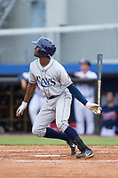Bryce Brown (1) of the Princeton Rays follows through on his swing against the Danville Braves at American Legion Post 325 Field on June 25, 2017 in Danville, Virginia.  The Braves walked-off the Rays 7-6 in 11 innings.  (Brian Westerholt/Four Seam Images)