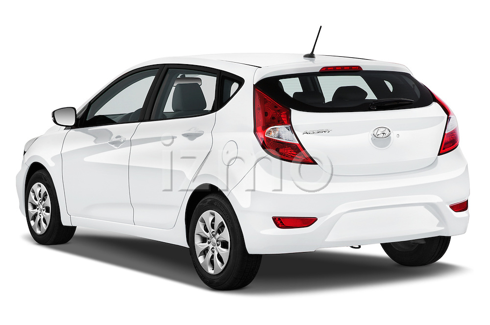 Car pictures of rear three quarter view of 2016 Hyundai Accent SE 6-Speed Automatic 5 Door Hatchback Angular Rear