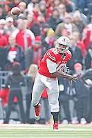 Ohio State Buckeyes quarterback J.T. Barrett (16) gets a pass off against Indiana in first half play at Ohio Stadium on 22, 2014. (Chris Russell/Dispatch Photo)