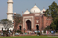 Agra, India.  Taj Mahal.  The Jawab, a replica of the mosque on the opposite side of the complex.  The Jawab creates symetry in the complex.  It cannot be used as a mosque since it faces away from Mecca.