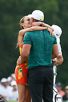 Brooks Koepka (USA) is congratulated by his girlfriend Jena Sims on the 18th green after winning the 100th PGA Championship at Bellerive Country Club, St. Louis, Missouri, USA. 8/12/2018.<br /> Picture: Golffile.ie | Brian Spurlock<br /> <br /> All photo usage must carry mandatory copyright credit (&copy; Golffile | Brian Spurlock)