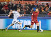 5th December 2017, Stadio Olimpic, Rome, Italy; UEFA Champions league football, AS Roma versus Qarabağ FK; Edin Dzeko breaks along the wing
