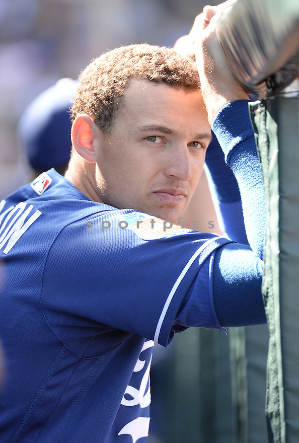 Los Angeles Dodgers Trayce Thompson (21) during a preseason game against the Chicago Cubs on March 8, 2016 at Sloan Park in Mesa, AZ. The Dodgers beat the Cubs 7-3.