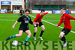 FAI U17 Cup 3rd Round Fenit Samphires V Kill Celtic (Kildare) at all weather pitch in Mounthawk park on Saturday. Pictured Fenit's Sean Donnellan and Celtic's Jack Moyles, Niall Flaherty