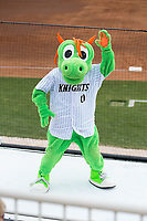 The Charlotte Knights mascot Homer the Dragon was on hand for Education Day at Kannapolis Intimidators Stadium during the South Atlantic League game between the Rome Braves and the Kannapolis Intimidators on April 12, 2017 in Kannapolis, North Carolina.  The Braves defeated the Intimidators 4-3.  (Brian Westerholt/Four Seam Images)