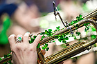 March 18, 2017; Shamrocks on a trumpet in the Notre Dame NCAA tournament band. (Photo by Matt Cashore/University of Notre Dame)