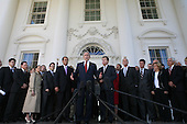 United States President George W. Bush, flanked by members of the U.S. House Republican Conference, makes a statement on the North Portico of the White House in Washington, D.C. on March 29, 2007.  Left to right:  U.S. House Republican Deputy Whip Eric Cantor (Republican of Virginia); U.S. House Minority Leader John Boehner (Republican of Ohio), President Bush, U.S. House Republican Whip Roy Blunt (Republican of Missouri).  <br /> Credit: Dennis Brack / Pool via CNP