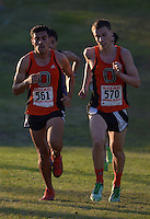 Oct 19, 2013; La Mirada, CA, USA; John Guzman Aguilar (561) and Colin Smith (570) of Occidental placed second and third in the mens race in 25:27 and 25:58 in the SCIAC multi-dual meet at La Mirada Park. Photo by Kirby Lee