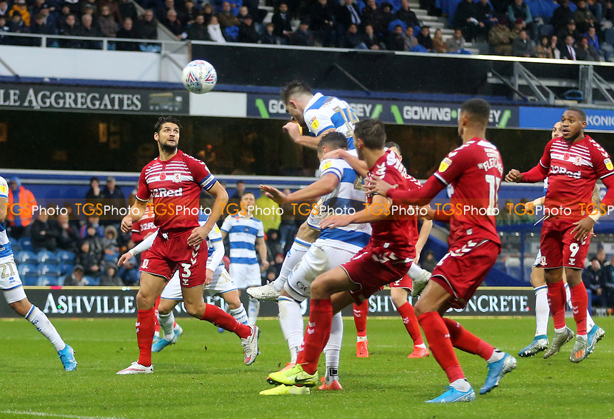 Ryan Manning of Queens Park Rangers header goes wide during Queens Park Rangers vs Middlesbrough, Sky Bet EFL Championship Football at Loftus Road Stadium on 9th November 2019