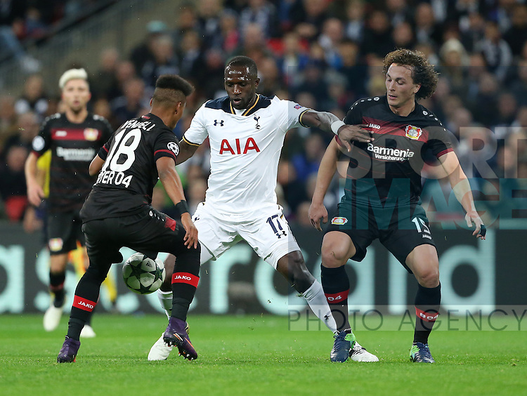 Tottenham's Moussa Sissoko tussles with Leverksen's Wendell and Julian Baumgartlinger during the Champions League group E match at the Wembley Stadium, London. Picture date November 2nd, 2016 Pic David Klein/Sportimage