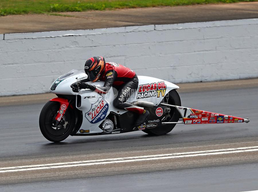 May 5, 2018; Commerce, GA, USA; NHRA pro stock motorcycle rider Hector Arana Jr during qualifying for the Southern Nationals at Atlanta Dragway. Mandatory Credit: Mark J. Rebilas-USA TODAY Sports