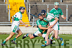 Aidan Boyle of Ballyduff and Kanturk's John Browne  in action, in the Munster IHC semi final in Austion Stack Park on Sunday last.
