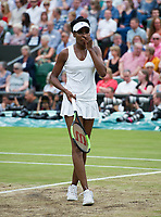 Venus Williams (10) of United States during her defeat by Garbine Muguruza (14) of Spain in their Ladies' Singles Final today - Muguruza def Williams 7-5, 6-0<br /> <br /> Photographer Ashley Western/CameraSport<br /> <br /> Wimbledon Lawn Tennis Championships - Day 12 - Saturday 15th July 2017 -  All England Lawn Tennis and Croquet Club - Wimbledon - London - England<br /> <br /> World Copyright &not;&uml;&not;&copy; 2017 CameraSport. All rights reserved. 43 Linden Ave. Countesthorpe. Leicester. England. LE8 5PG - Tel: +44 (0) 116 277 4147 - admin@camerasport.com - www.camerasport.com