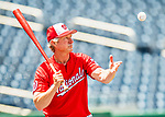 29 June 2017: Washington Nationals bench coach Chris Speier taps out grounders and fly balls prior to a game against the Chicago Cubs at Nationals Park in Washington, DC. The Cubs rallied against the Nationals to win 5-4 and split their 4-game series. Mandatory Credit: Ed Wolfstein Photo *** RAW (NEF) Image File Available ***