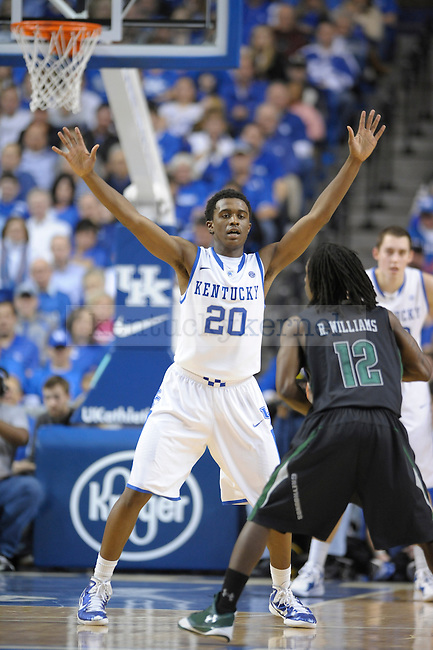 Doron Lamb (20) plays defense with his arms up during the first half of the University of Kentucky Basketball game against Loyola at Rupp Arena in Lexington, Ky., on 12/22/11. UK won the game 87-63. Photo by Mike Weaver | Staff