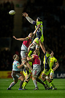 Sale Sharks' Andrei Ostrikov claims the lineout<br /> <br /> Photographer Bob Bradford/CameraSport<br /> <br /> Aviva Premiership - Harlequins v Sale Sharks - Friday 6th October 2017 - Twickenham Stoop - London<br /> <br /> World Copyright &copy; 2017 CameraSport. All rights reserved. 43 Linden Ave. Countesthorpe. Leicester. England. LE8 5PG - Tel: +44 (0) 116 277 4147 - admin@camerasport.com - www.camerasport.com