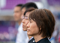 ORLANDO, FL - MARCH 05: Asako Takakura of Japan watches her team during a game between Spain and Japan at Exploria Stadium on March 05, 2020 in Orlando, Florida.