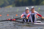 Rowing, United States Women's lightweight double, Abelyn (Abby) Broughton, bow, Ursula Grobler, stroke, heat race, October 31, 2010 FISA World Rowing Championships, Lake Karapiro, Hamilton, New Zealand,