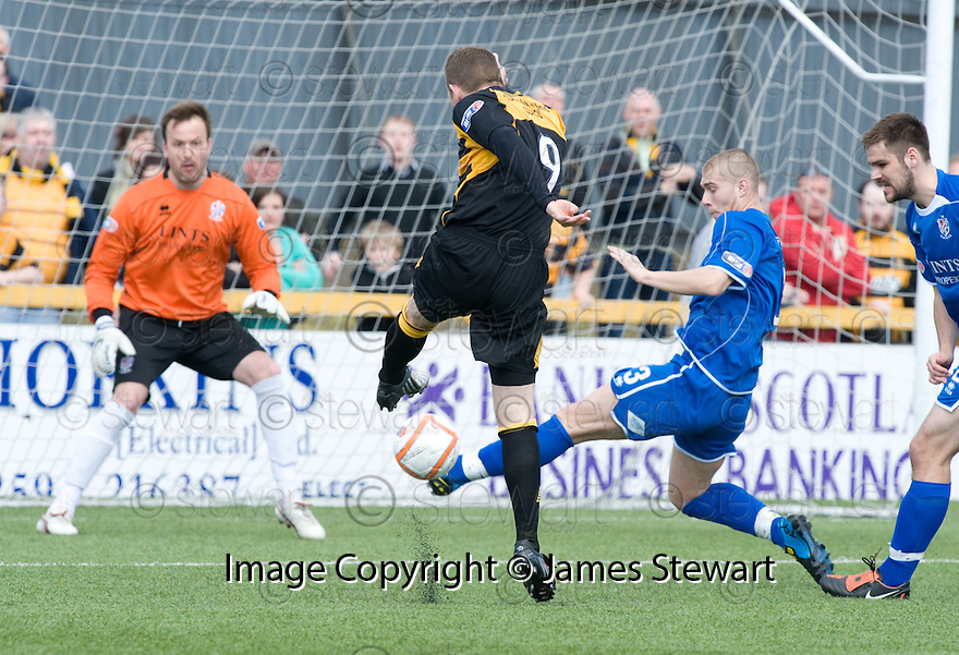 08/05/2010   Copyright  Pic : James Stewart.sct_js003_alloa_v_cowdenbeath  .::  BRYAN PRUNTY'S SHOT IS BLOCKED BY KENNY ADAMSON   ::  .James Stewart Photography 19 Carronlea Drive, Falkirk. FK2 8DN      Vat Reg No. 607 6932 25.Telephone      : +44 (0)1324 570291 .Mobile              : +44 (0)7721 416997.E-mail  :  jim@jspa.co.uk.If you require further information then contact Jim Stewart on any of the numbers above.........