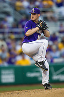LSU Tigers pitcher Jared Poche #16 delivers a pitch to the plate during the Southeastern Conference baseball game against the Georgia Bulldogs on March 22, 2014 at Alex Box Stadium in Baton Rouge, La. The Tigers defeated the Bulldogs 2-1. (Andrew Woolley/Four Seam Images)