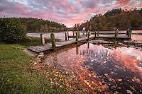 A fall sunset at Shady Lake Recreation area in the Ouachita National Forest.