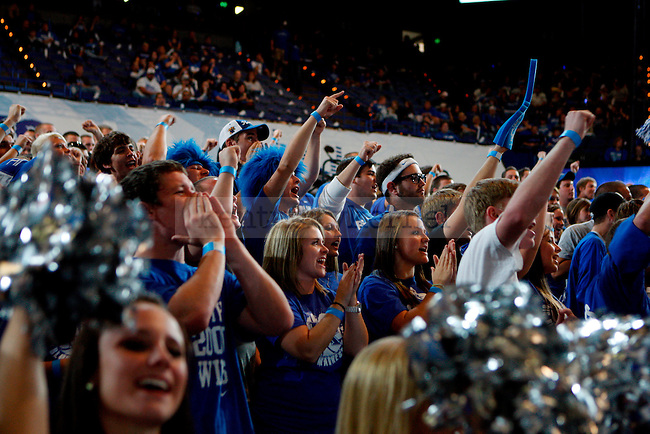 Fans in the student section cheer at Big Blue Madness at Rupp Arena on Friday, Oct. 15, 2010. Photo by Britney McIntosh | Staff